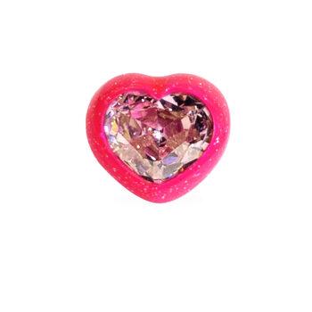 anello cuore fuchsia glitter