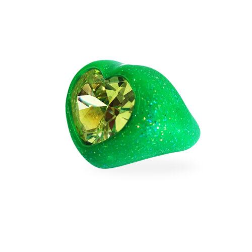 anello cuore verde glitter